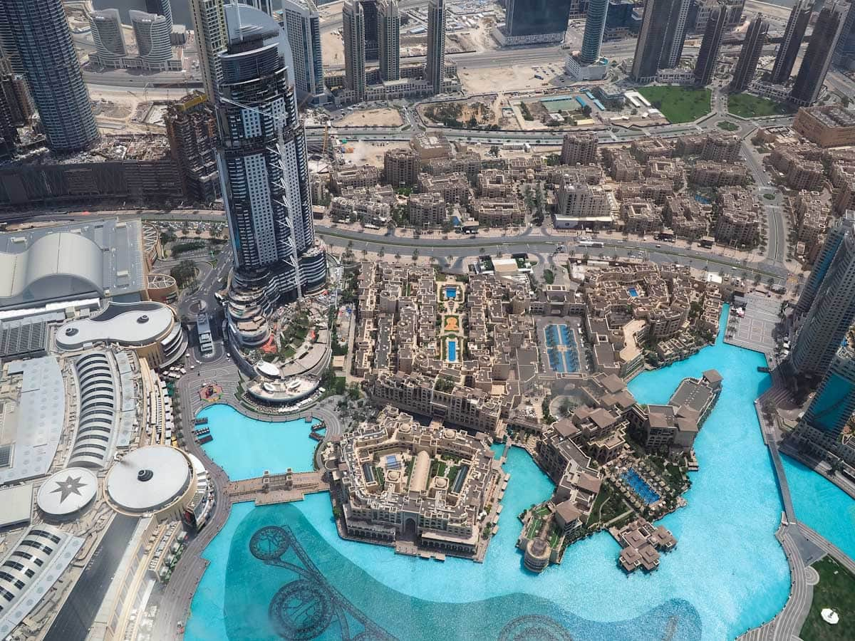 View overlooking the fountains from at the top of the Burj Khalifa