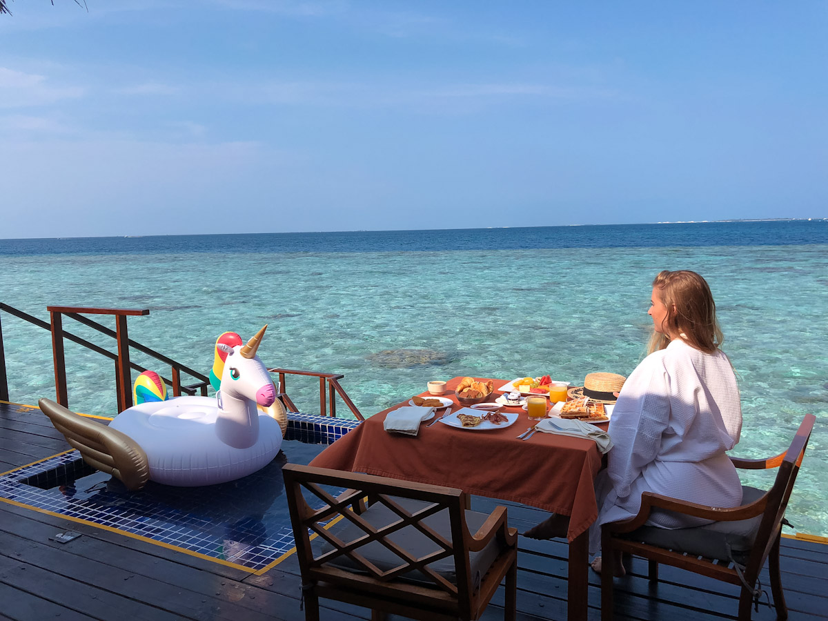 Breakfast at our private sea villa