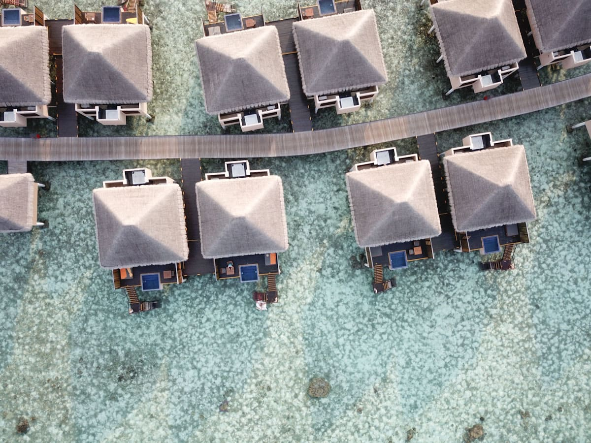 Aerial shot of the Adaaran Vadoo Maldives villas