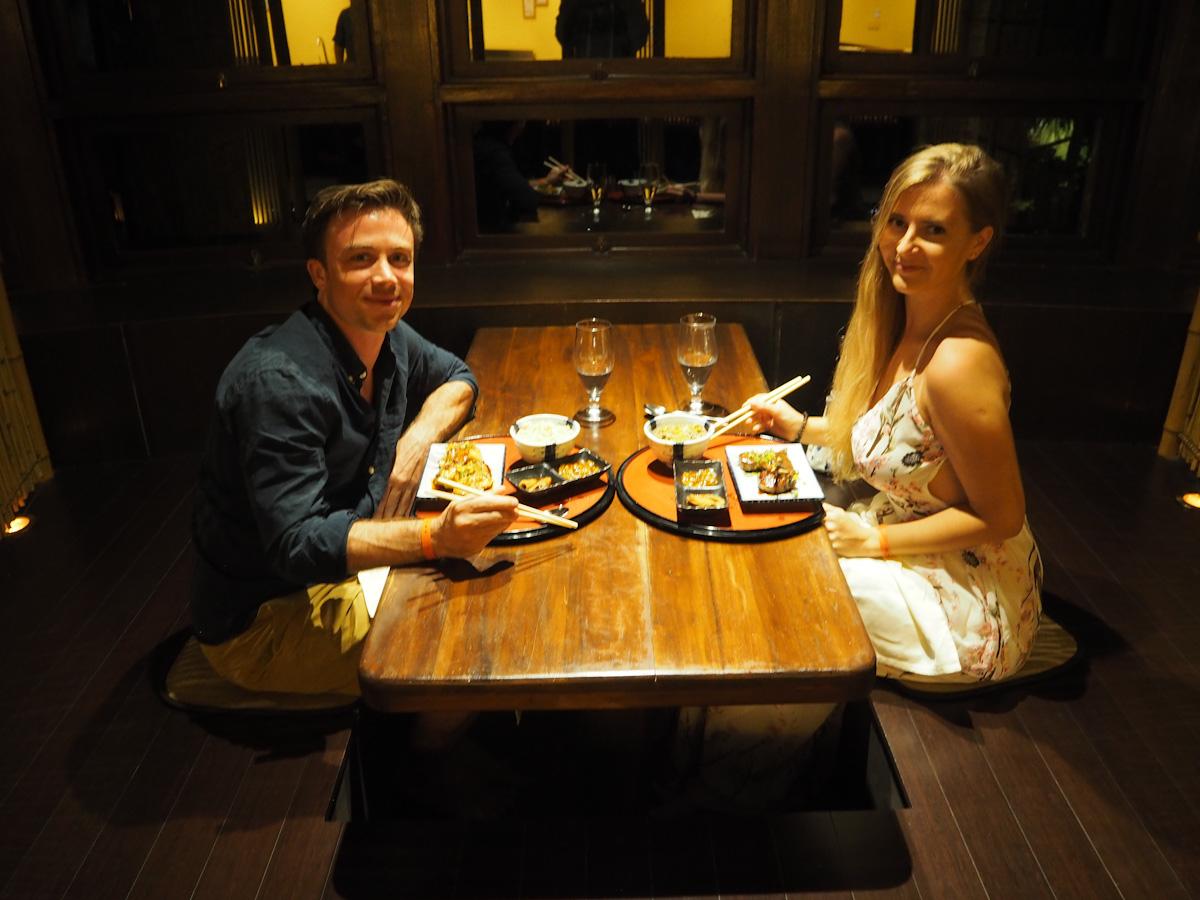 Alice and Steve at the Japanese Restaurant Adaaran Prestige Vadoo
