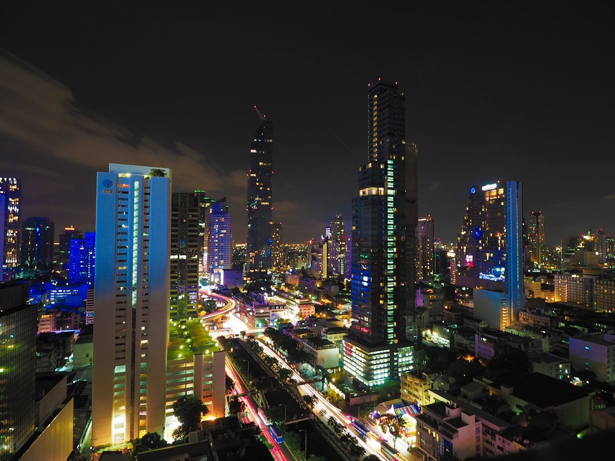 Night time shot of Bangkok City